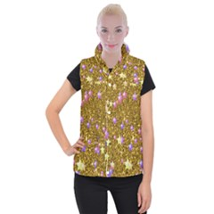 Stars On Sparkling Glitter Print,golden Women s Button Up Puffer Vest by MoreColorsinLife