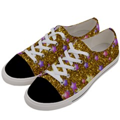 Stars On Sparkling Glitter Print,golden Women s Low Top Canvas Sneakers by MoreColorsinLife