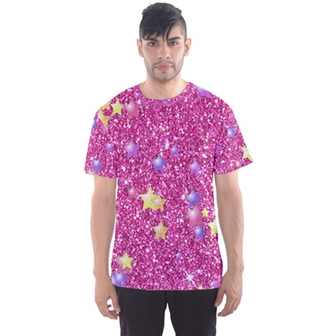 Stars On Sparkling Glitter Print,pink Men s Sports Mesh Tee by MoreColorsinLife