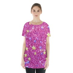 Stars On Sparkling Glitter Print,pink Skirt Hem Sports Top by MoreColorsinLife