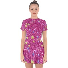 Stars On Sparkling Glitter Print,pink Drop Hem Mini Chiffon Dress by MoreColorsinLife