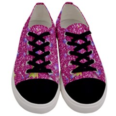 Stars On Sparkling Glitter Print,pink Men s Low Top Canvas Sneakers