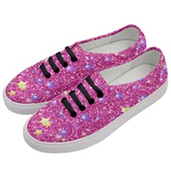 Stars On Sparkling Glitter Print,pink Women s Classic Low Top Sneakers by MoreColorsinLife