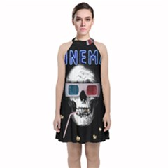 Cinema Skull Velvet Halter Neckline Dress