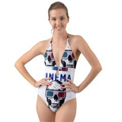 Cinema Skull Halter Cut-out One Piece Swimsuit