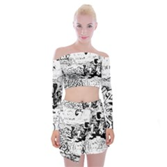 Graffiti Off Shoulder Top With Mini Skirt Set