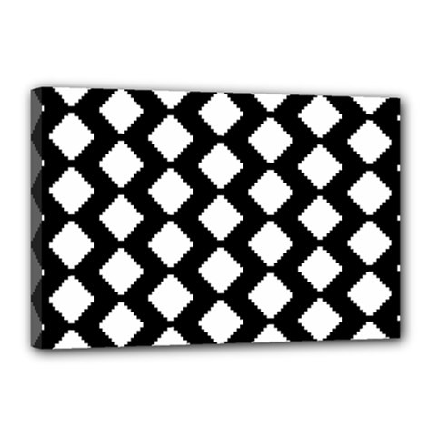 Abstract Tile Pattern Black White Triangle Plaid Canvas 18  X 12  by Alisyart