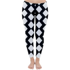 Abstract Tile Pattern Black White Triangle Plaid Classic Winter Leggings