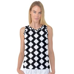 Abstract Tile Pattern Black White Triangle Plaid Women s Basketball Tank Top