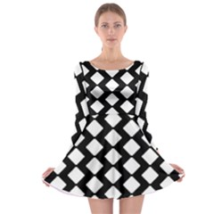 Abstract Tile Pattern Black White Triangle Plaid Long Sleeve Skater Dress