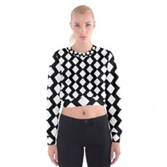 Abstract Tile Pattern Black White Triangle Plaid Cropped Sweatshirt by Alisyart
