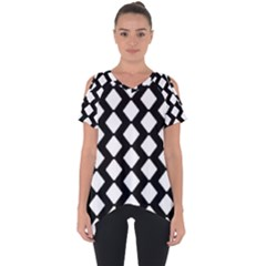 Abstract Tile Pattern Black White Triangle Plaid Cut Out Side Drop Tee