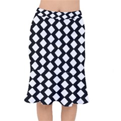 Abstract Tile Pattern Black White Triangle Plaid Mermaid Skirt