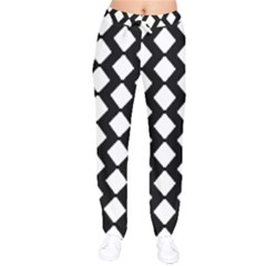 Abstract Tile Pattern Black White Triangle Plaid Drawstring Pants by Alisyart
