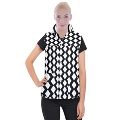 Abstract Tile Pattern Black White Triangle Plaid Women s Button Up Puffer Vest