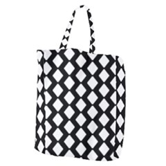 Abstract Tile Pattern Black White Triangle Plaid Giant Grocery Zipper Tote by Alisyart