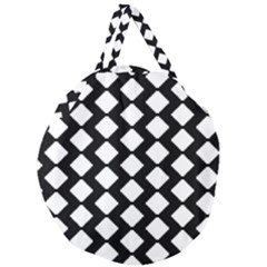 Abstract Tile Pattern Black White Triangle Plaid Giant Round Zipper Tote by Alisyart