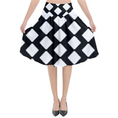 Abstract Tile Pattern Black White Triangle Plaid Flared Midi Skirt