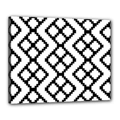 Abstract Tile Pattern Black White Triangle Plaid Chevron Canvas 20  X 16  by Alisyart