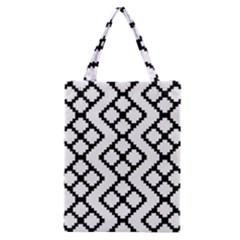 Abstract Tile Pattern Black White Triangle Plaid Chevron Classic Tote Bag