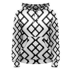Abstract Tile Pattern Black White Triangle Plaid Chevron Women s Pullover Hoodie