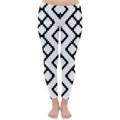 Abstract Tile Pattern Black White Triangle Plaid Chevron Classic Winter Leggings