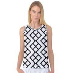 Abstract Tile Pattern Black White Triangle Plaid Chevron Women s Basketball Tank Top