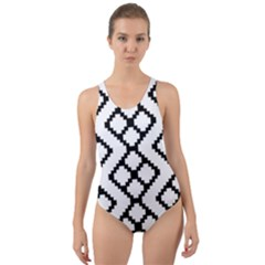 Abstract Tile Pattern Black White Triangle Plaid Chevron Cut Out Back One Piece Swimsuit