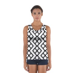 Abstract Tile Pattern Black White Triangle Plaid Chevron Sport Tank Top