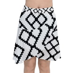 Abstract Tile Pattern Black White Triangle Plaid Chevron Chiffon Wrap