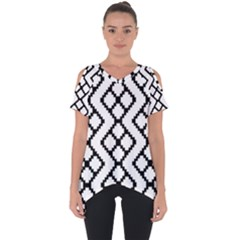 Abstract Tile Pattern Black White Triangle Plaid Chevron Cut Out Side Drop Tee