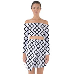 Abstract Tile Pattern Black White Triangle Plaid Chevron Off Shoulder Top With Skirt Set