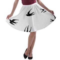 Black Bird Fly Sky A Line Skater Skirt