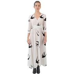 Black Bird Fly Sky Button Up Boho Maxi Dress by Alisyart