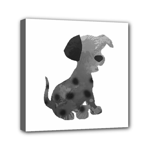 Dalmatian Inspired Silhouette Mini Canvas 6  X 6