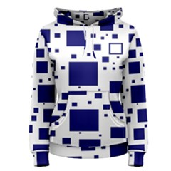 Blue Squares Textures Plaid Women s Pullover Hoodie