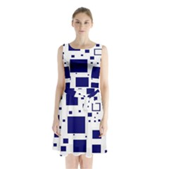 Blue Squares Textures Plaid Sleeveless Waist Tie Chiffon Dress