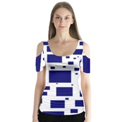 Blue Squares Textures Plaid Butterfly Sleeve Cutout Tee