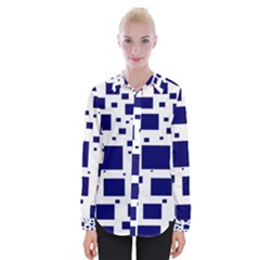 Blue Squares Textures Plaid Womens Long Sleeve Shirt