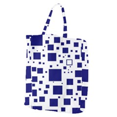 Blue Squares Textures Plaid Giant Grocery Zipper Tote by Alisyart