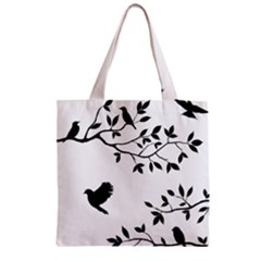 Bird Tree Black Zipper Grocery Tote Bag