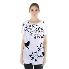 Bird Tree Black Skirt Hem Sports Top