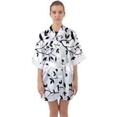 Bird Tree Black Quarter Sleeve Kimono Robe