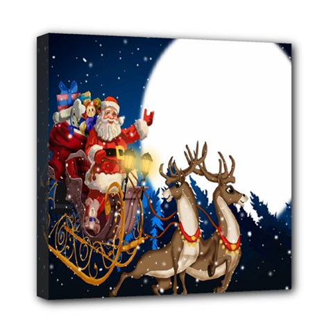 Christmas Reindeer Santa Claus Snow Night Moon Blue Sky Mini Canvas 8  X 8  by Alisyart