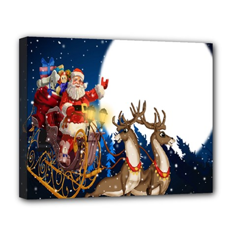 Christmas Reindeer Santa Claus Snow Night Moon Blue Sky Deluxe Canvas 20  X 16