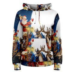 Christmas Reindeer Santa Claus Snow Night Moon Blue Sky Women s Pullover Hoodie