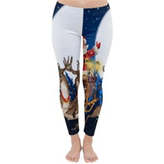 Christmas Reindeer Santa Claus Snow Night Moon Blue Sky Classic Winter Leggings