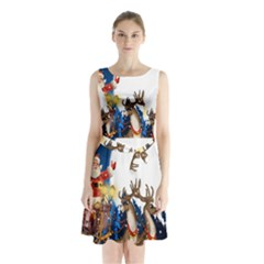 Christmas Reindeer Santa Claus Snow Night Moon Blue Sky Sleeveless Waist Tie Chiffon Dress