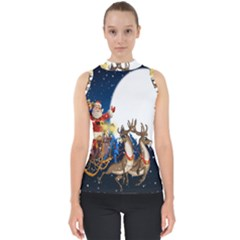 Christmas Reindeer Santa Claus Snow Night Moon Blue Sky Shell Top