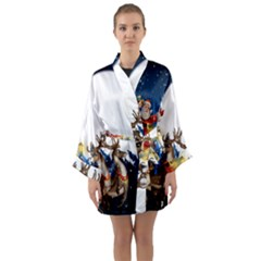 Christmas Reindeer Santa Claus Snow Night Moon Blue Sky Long Sleeve Kimono Robe